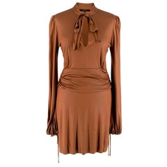 Gucci by Tom Ford Bronze Ruched Pussy Bow Mini Dress - Size S