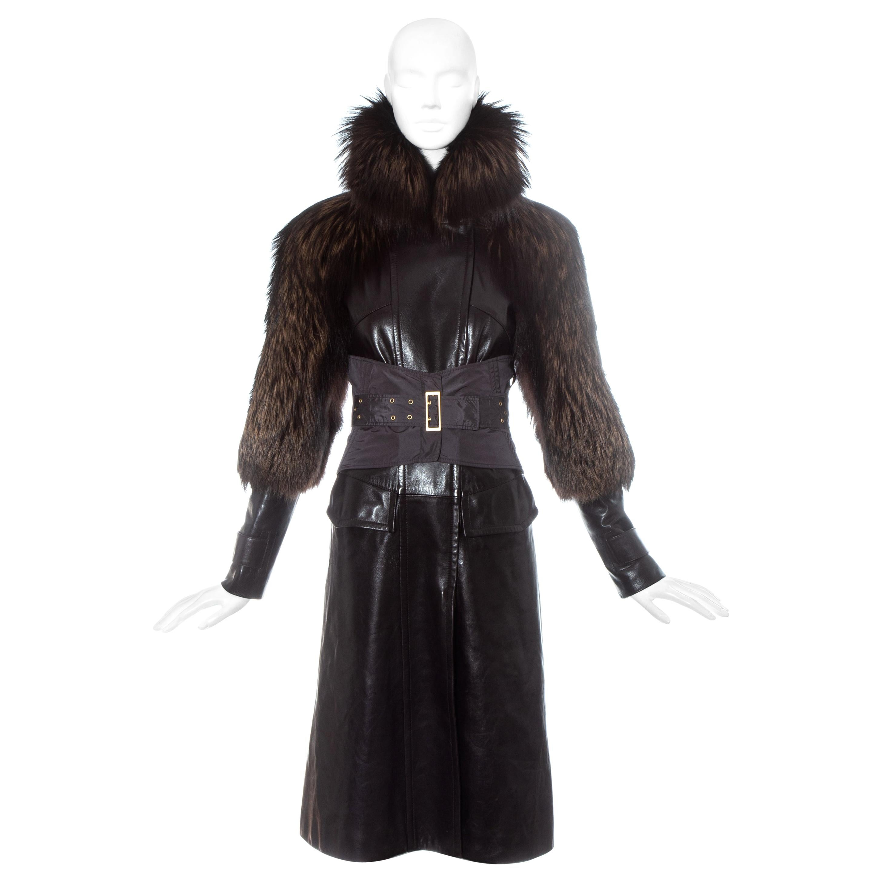 Gucci by Tom Ford brown leather and fox fur corseted coat, fw 2003