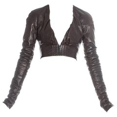 Gucci by Tom Ford brown leather cropped jacket, ss 2003