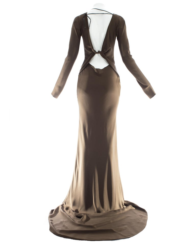 Black Gucci by Tom Ford brown silk evening dress with leather lace up, A/W 2002 For Sale