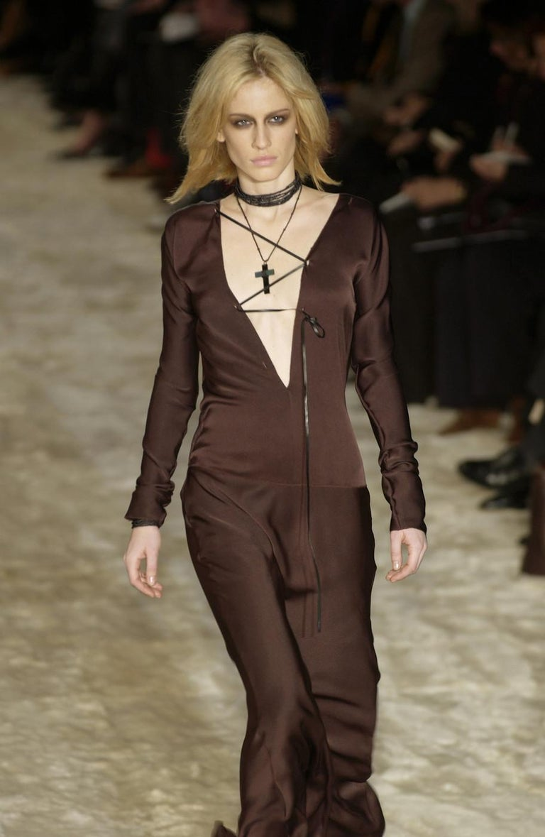Women's or Men's Gucci by Tom Ford brown silk evening dress with leather lace up, A/W 2002 For Sale