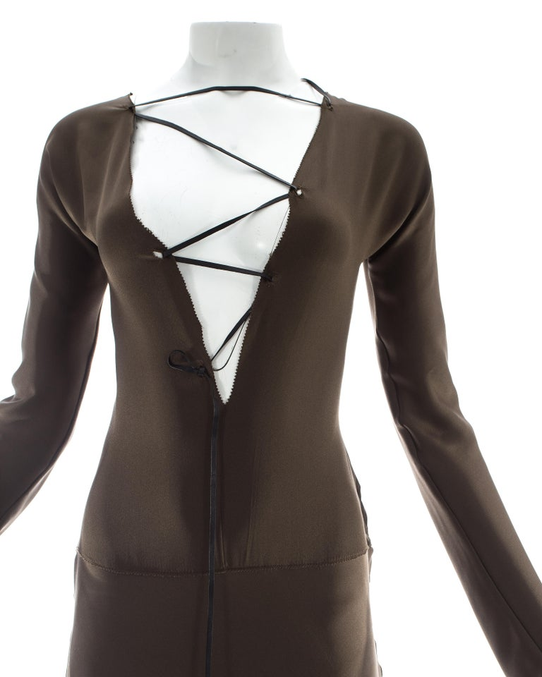 Gucci by Tom Ford brown silk evening dress with leather lace up, A/W 2002 For Sale 1