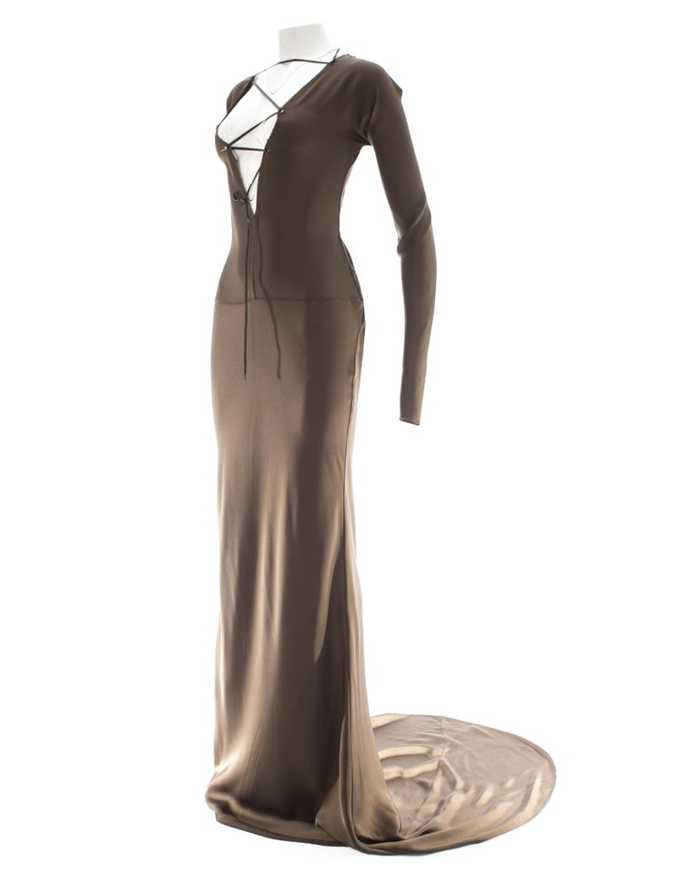 Gucci by Tom Ford brown silk evening dress with leather lace up, A/W 2002 For Sale 2