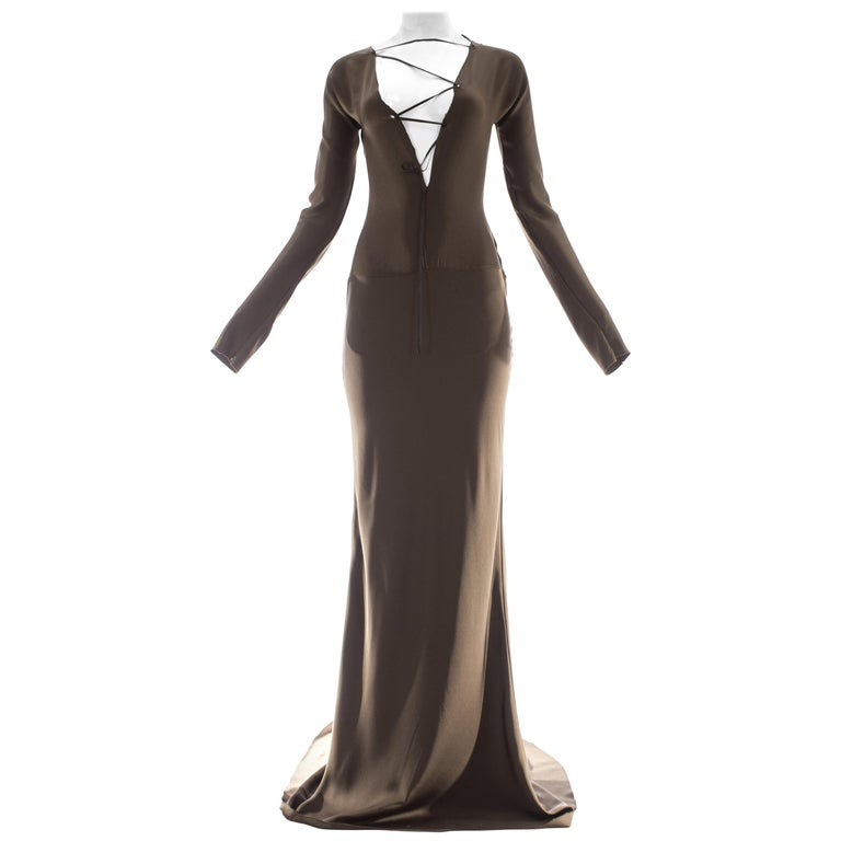 Gucci by Tom Ford brown silk evening dress with leather lace up, A/W 2002 For Sale