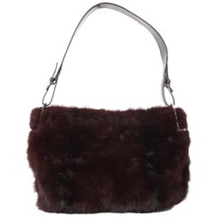 Gucci by Tom Ford Burgundy Fox Fur Leather Shoulder Handbag