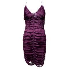 Gucci by Tom Ford Burgundy Silk Spaghetti Strap Cocktail Dress