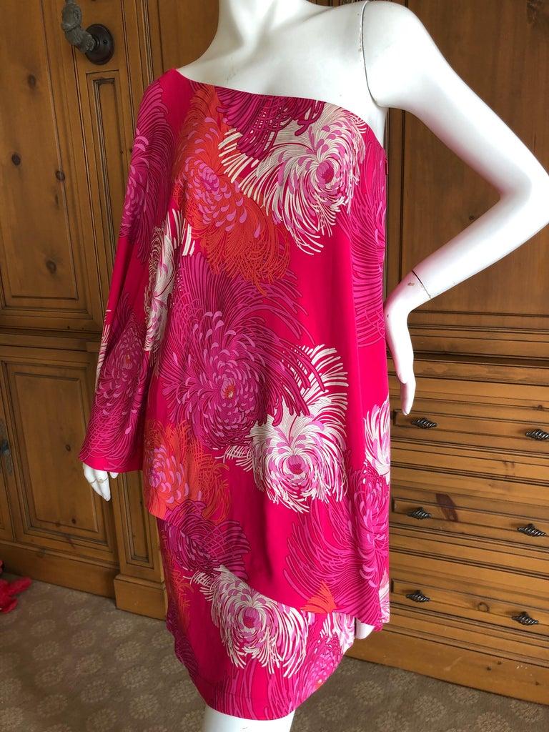 b3c2bb50d07 Gucci by Tom Ford Chrysanthemum Print One Sleeve Mini Dress Size M ...