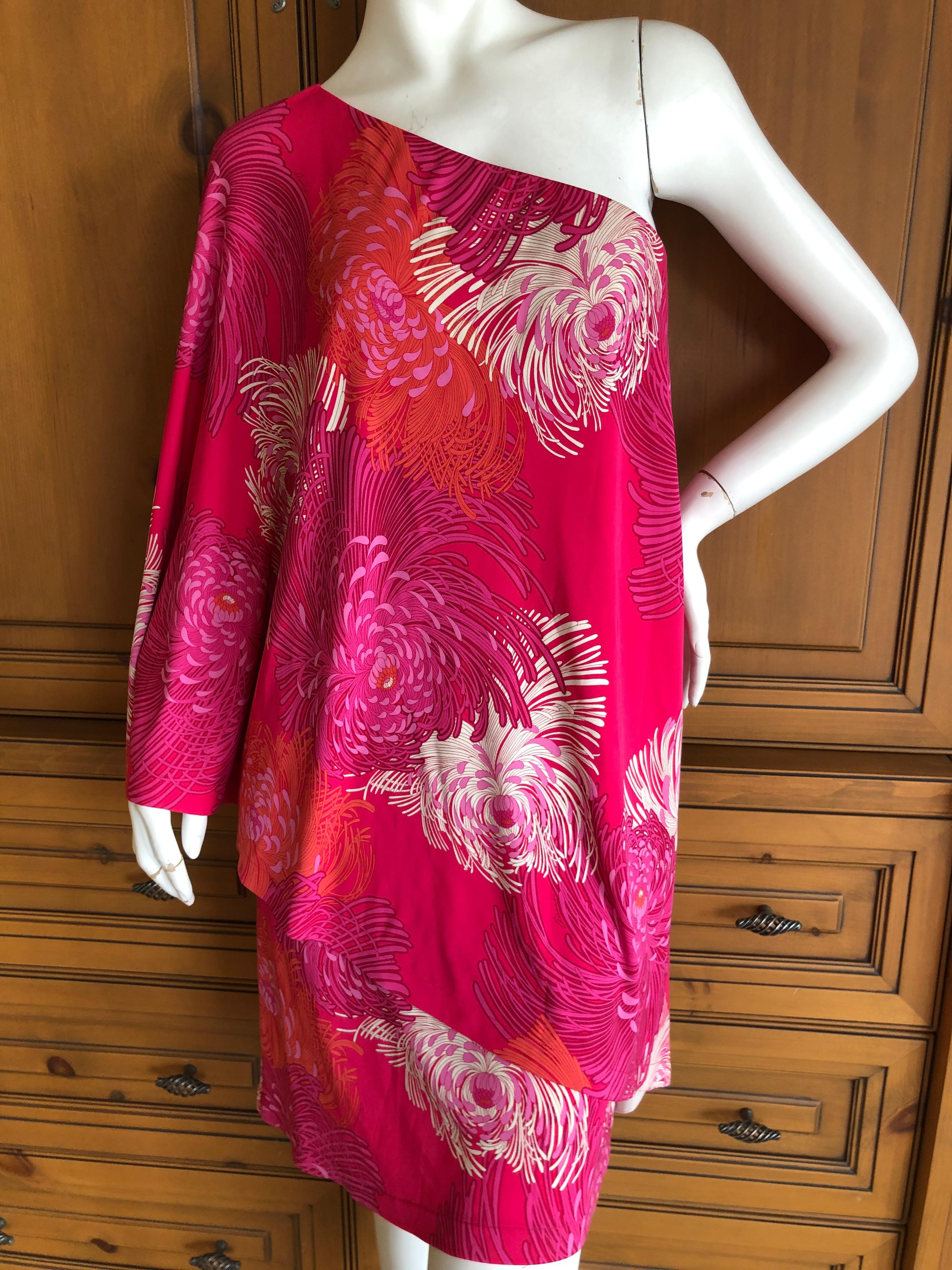 dfdd6f7a76f Gucci by Tom Ford Chrysanthemum Print One Sleeve Mini Dress Size M For Sale  at 1stdibs