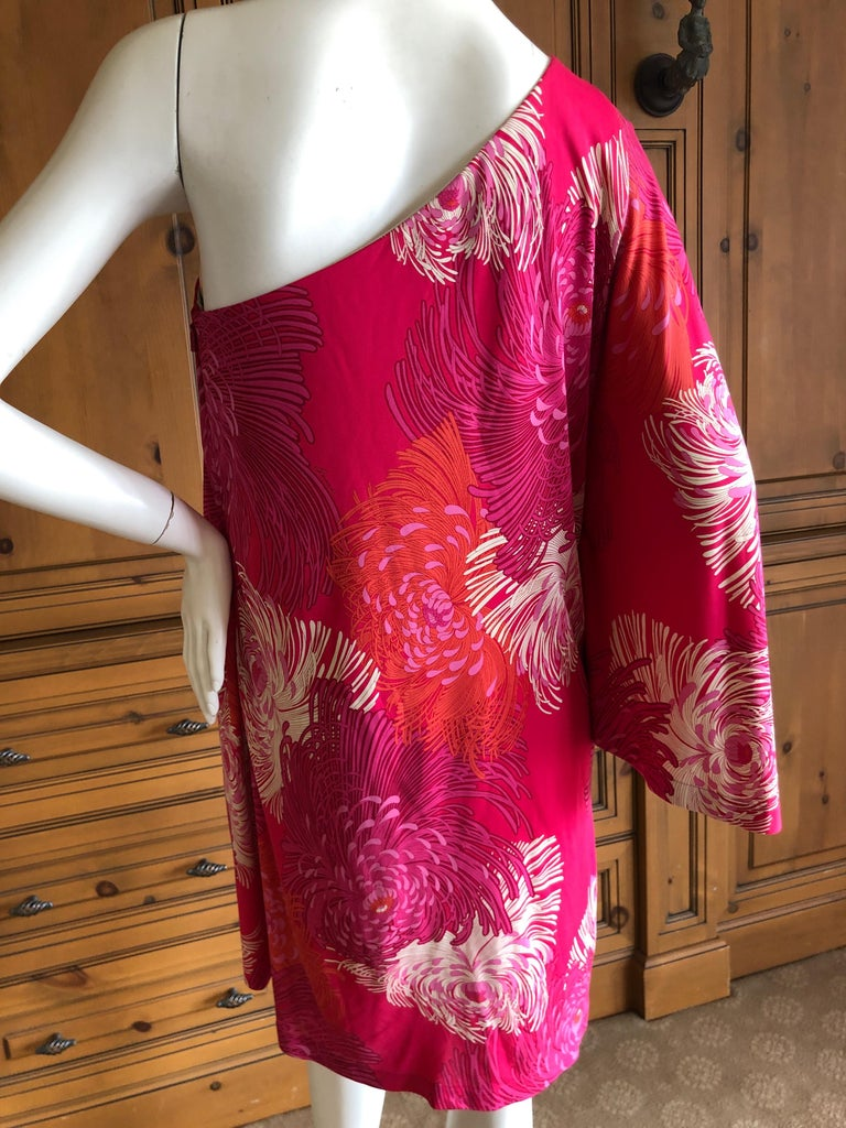 bd6140d13ce Gucci by Tom Ford Chrysanthemum Print One Sleeve Mini Dress Size M For Sale  1