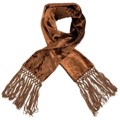 GUCCI by TOM FORD Copper Brown Velvet Fringe Scarf