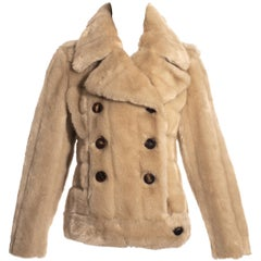 Gucci by Tom Ford cream faux fur double breasted jacket, fw 1996
