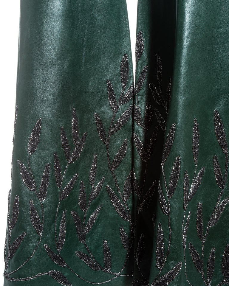 Gucci by Tom Ford green embroidered leather flared pants, fw 1999 In Good Condition For Sale In London, GB