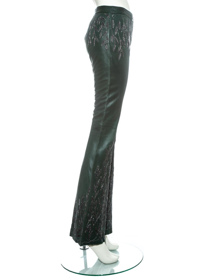 Women's or Men's Gucci by Tom Ford green embroidered leather flared pants, fw 1999 For Sale
