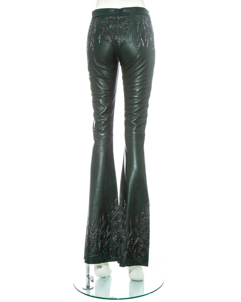 Gucci by Tom Ford green embroidered leather flared pants, fw 1999 For Sale 1