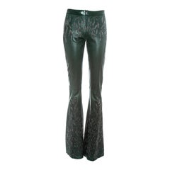 Gucci by Tom Ford green embroidered leather flared pants, fw 1999