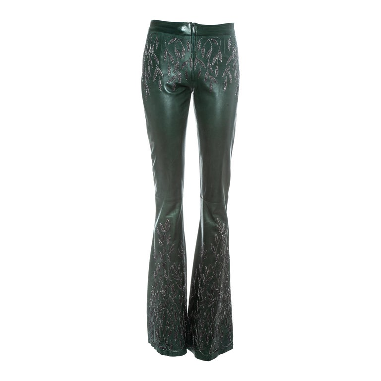 Gucci by Tom Ford green embroidered leather flared pants, fw 1999 For Sale
