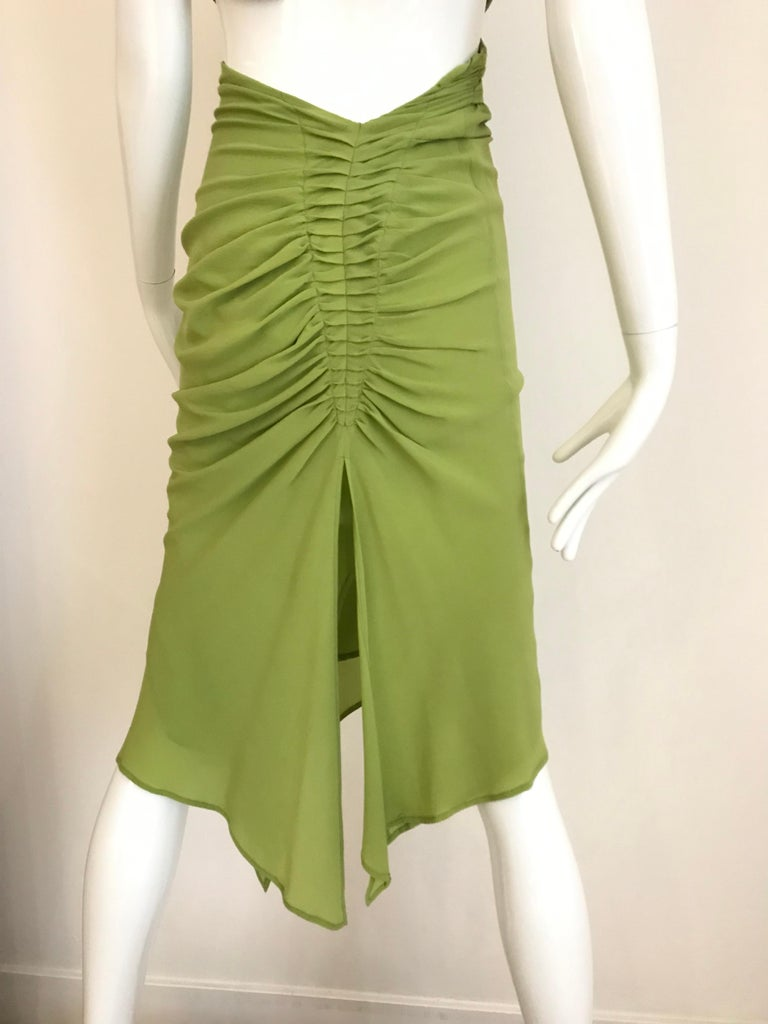 Gucci by Tom Ford Green Silk Cocktail Dress In Good Condition For Sale In Beverly Hills, CA