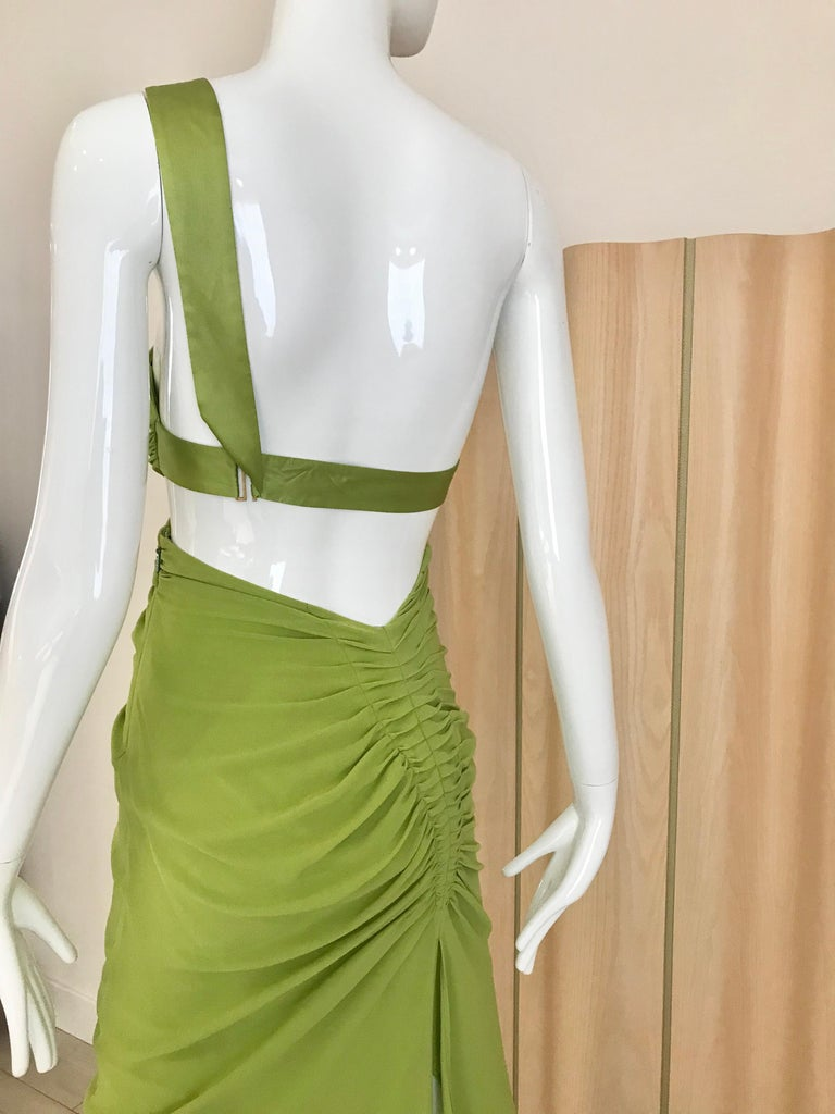 Gucci by Tom Ford Green Silk Cocktail Dress For Sale 1