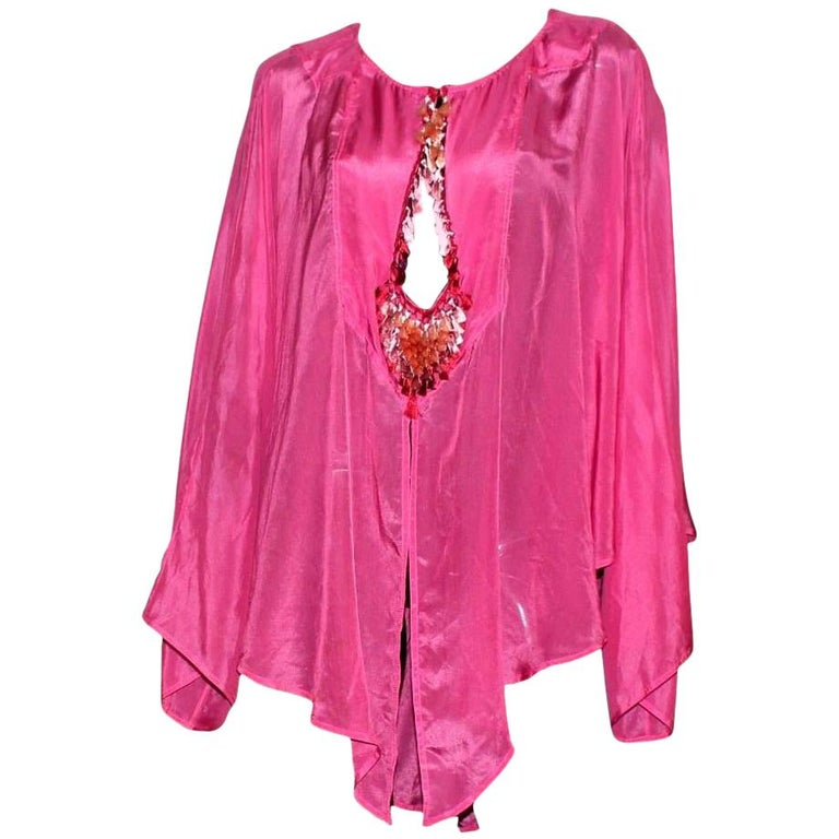 Gucci by Tom Ford Hot Pink Silk Ombre Tassel Cover Up Tunic Blouse Top For Sale