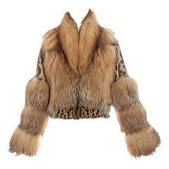 Gucci by Tom Ford leopard print rabbit and fox fur cropped jacket, fw 1999o