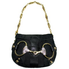 Gucci by Tom Ford Lizard Crystal-Encrused Horsebit Bag Purse with Bamboo Chain