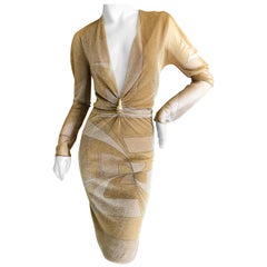 Gucci by Tom Ford Low Cut Gold Dress with Dragon Detail