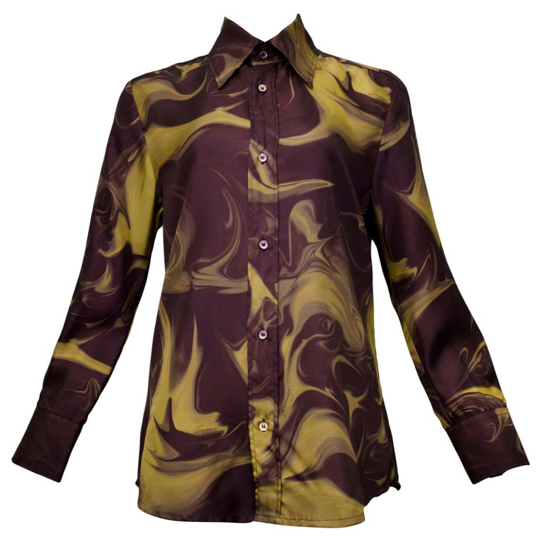 Resurrection Vintage is excited to offer a vintage dark brown and chartreuse Tom Ford for Gucci dress shirt featuring iconic marble
