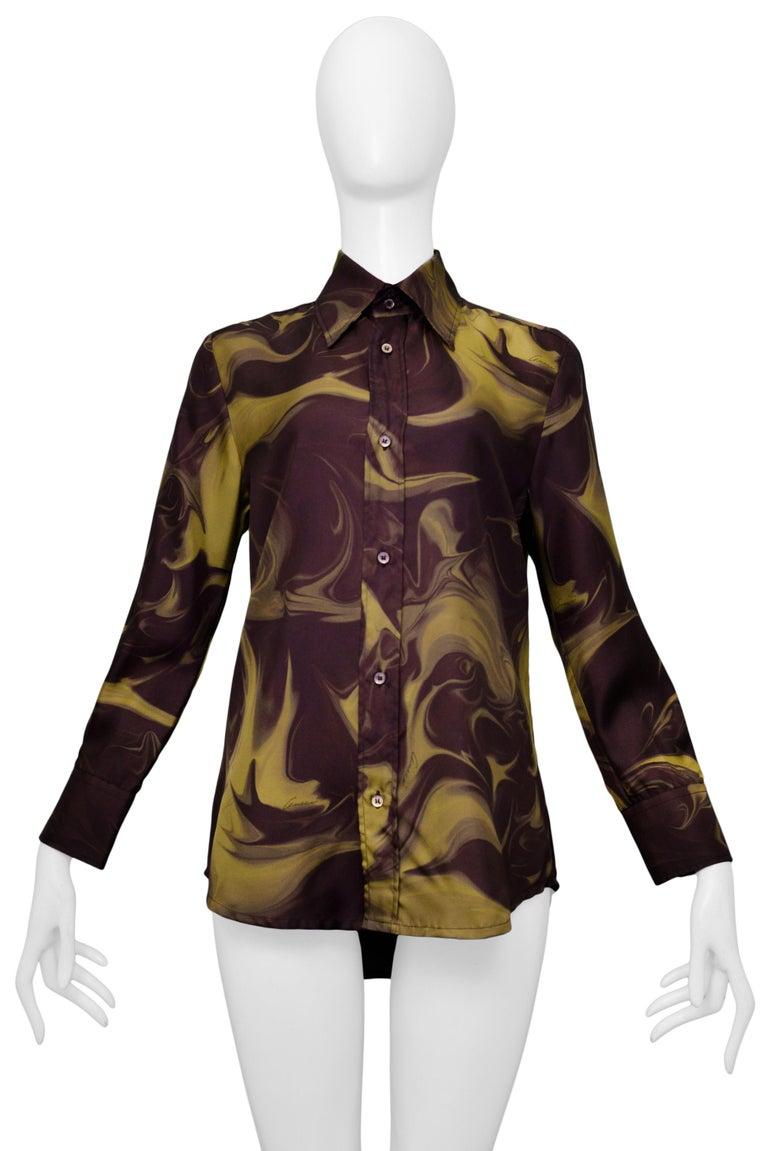 Black Gucci by Tom Ford Marble Print Dress Shirt 2001