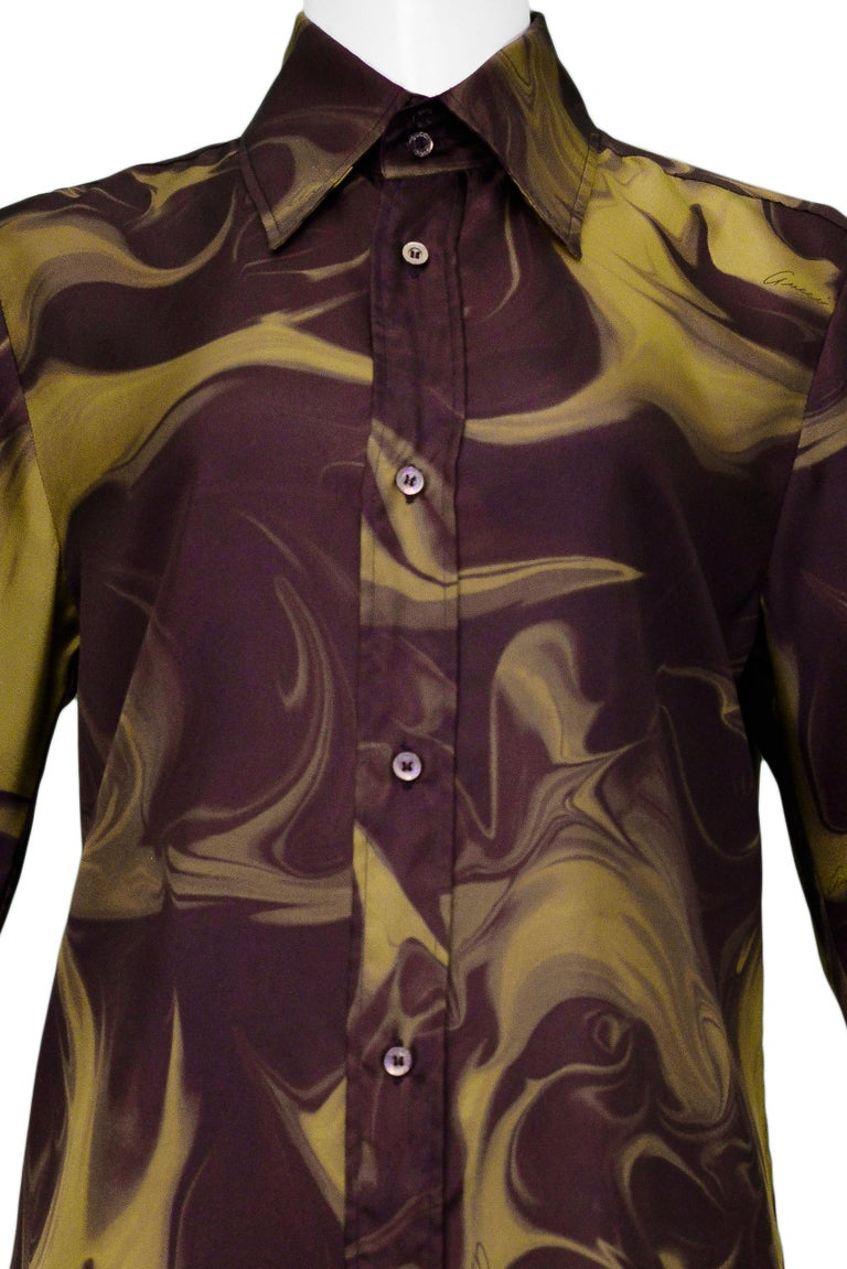 Gucci by Tom Ford Marble Print Dress Shirt 2001 In Excellent Condition In Los Angeles, CA