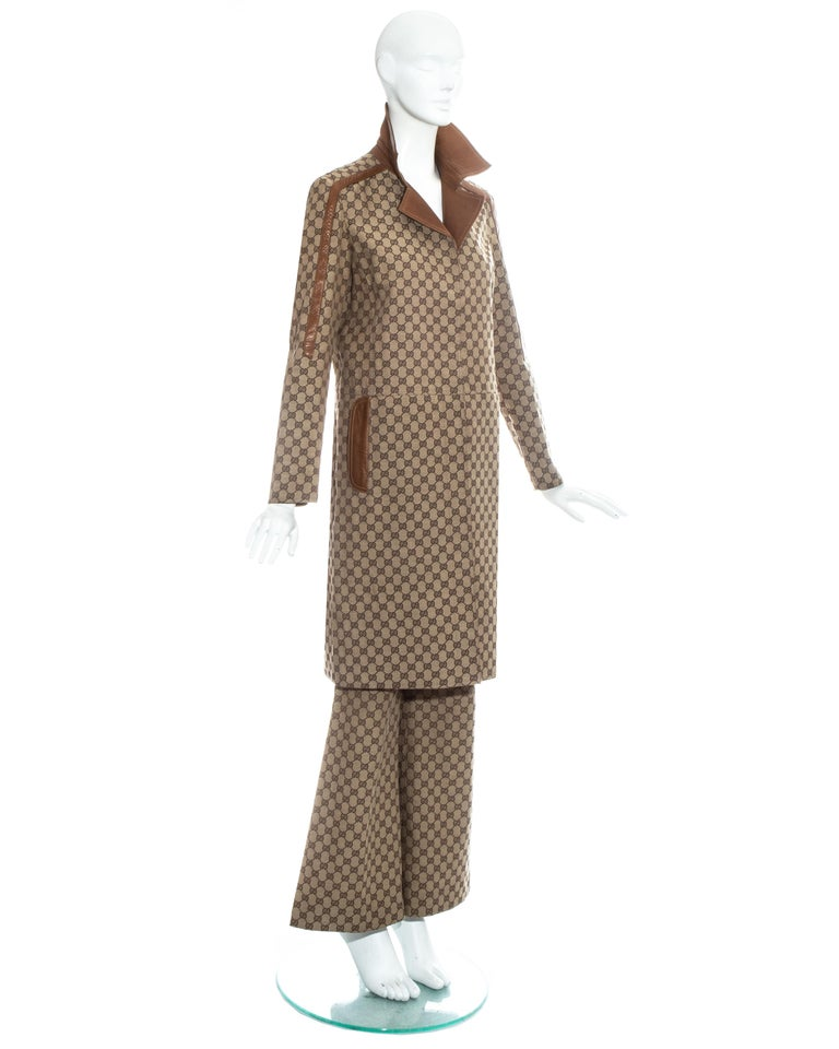 Brown Gucci by Tom Ford monogram canvas and leather pant suit, fw 2000 For Sale