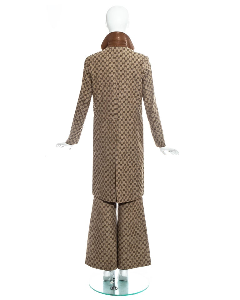 Women's Gucci by Tom Ford monogram canvas and leather pant suit, fw 2000 For Sale