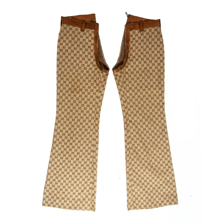 Gucci by Tom Ford monogram canvas and leather pant suit, fw 2000 For Sale 1