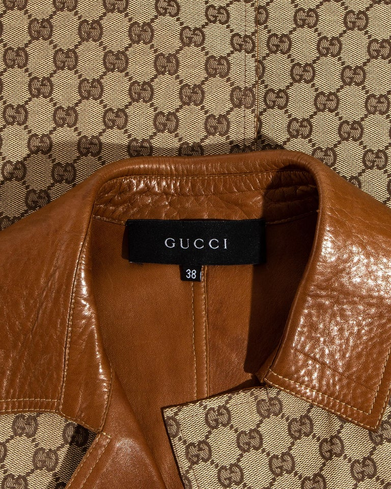 Gucci by Tom Ford monogram canvas and leather pant suit, fw 2000 For Sale 2