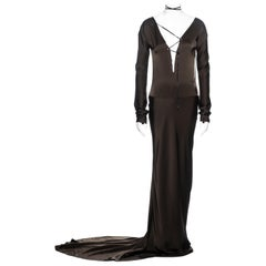 Gucci by Tom Ford olive silk trained lace up evening dress, fw 2002