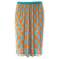 Gucci by Tom Ford orange and blue beaded fringed silk skirt, ca. 1999