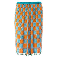 Gucci by Tom Ford orange and blue beaded fringed silk skirt, ss 1999