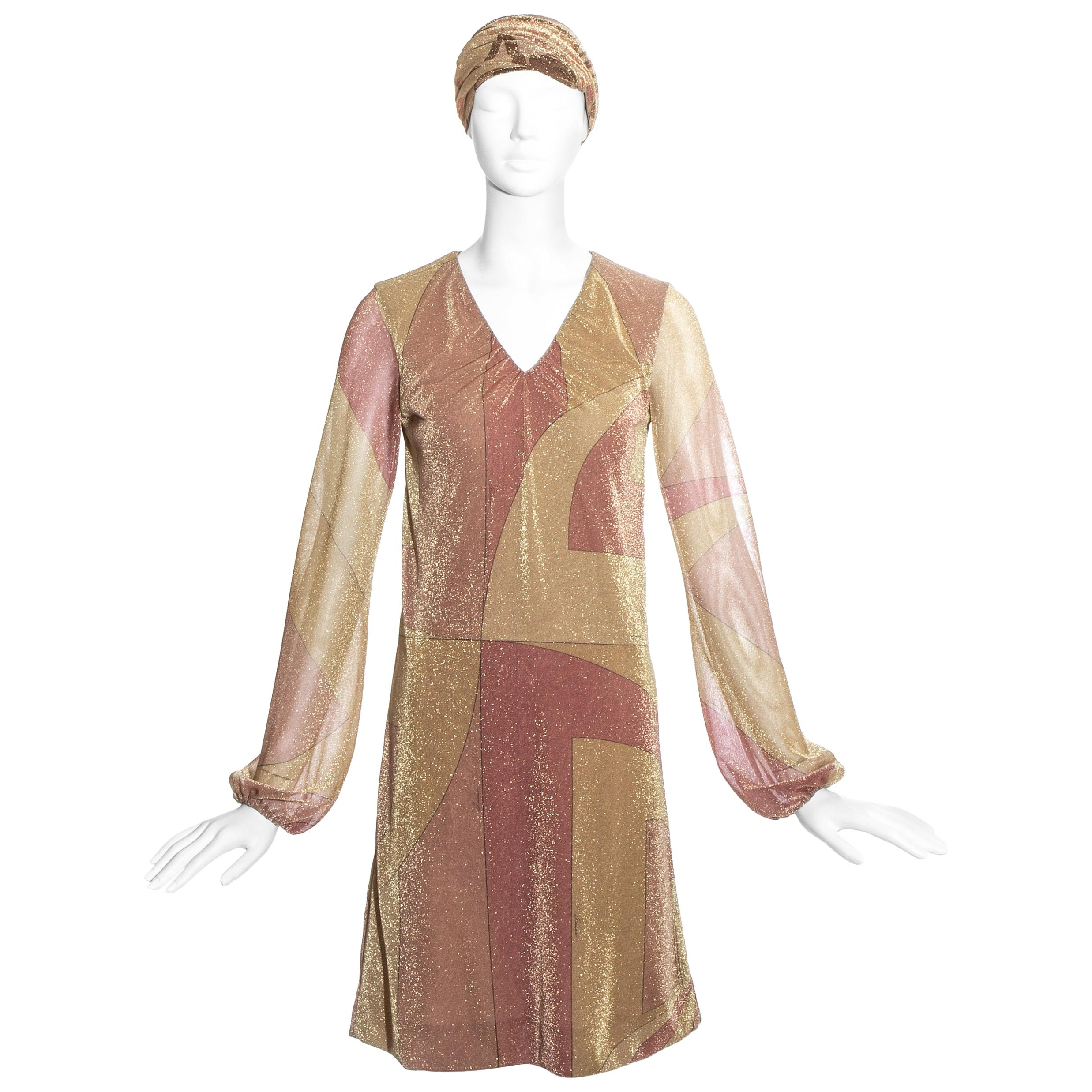 Gucci by Tom Ford pink and gold printed lurex dress with head scarf, fw 2000