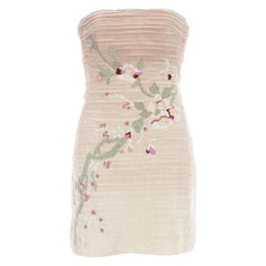 Gucci by Tom Ford pink silk embroidered strapless mini dress, ca. 2003