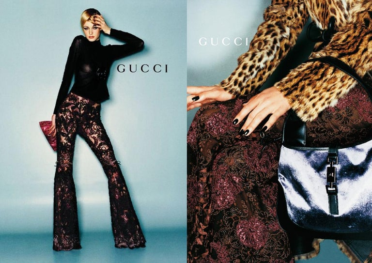 Gucci by Tom Ford purple embroidered lace and silk flared evening pants with leather ribbon bows on knees  Fall-Winter 1999