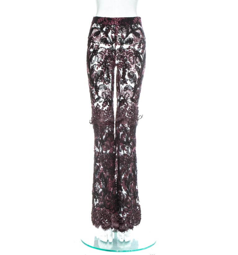 Black Gucci by Tom Ford purple embroidered lace flared evening pants, fw 1999