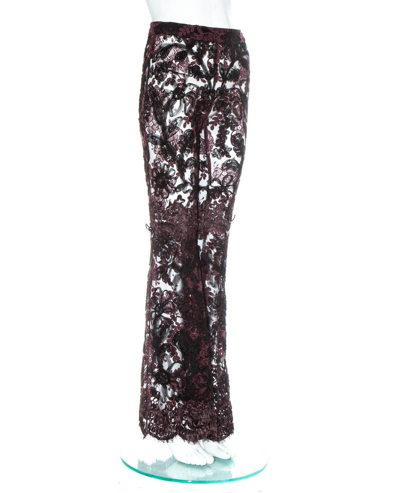 Gucci by Tom Ford purple embroidered lace flared evening pants, fw 1999 In Excellent Condition In London, GB