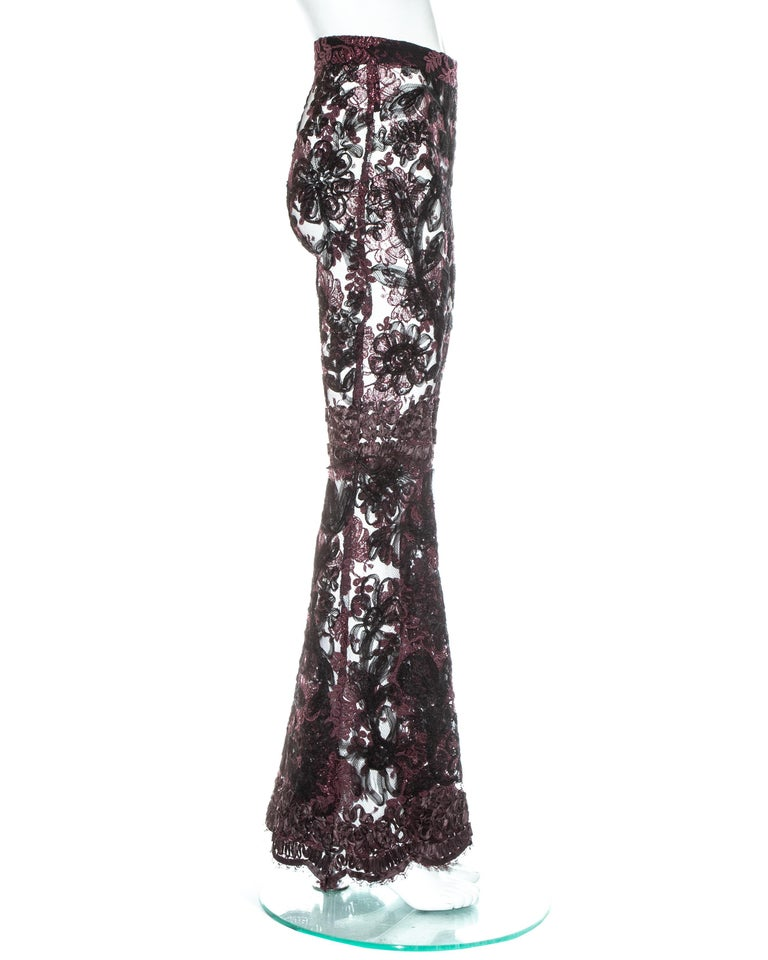 Women's Gucci by Tom Ford purple embroidered lace flared evening pants, fw 1999