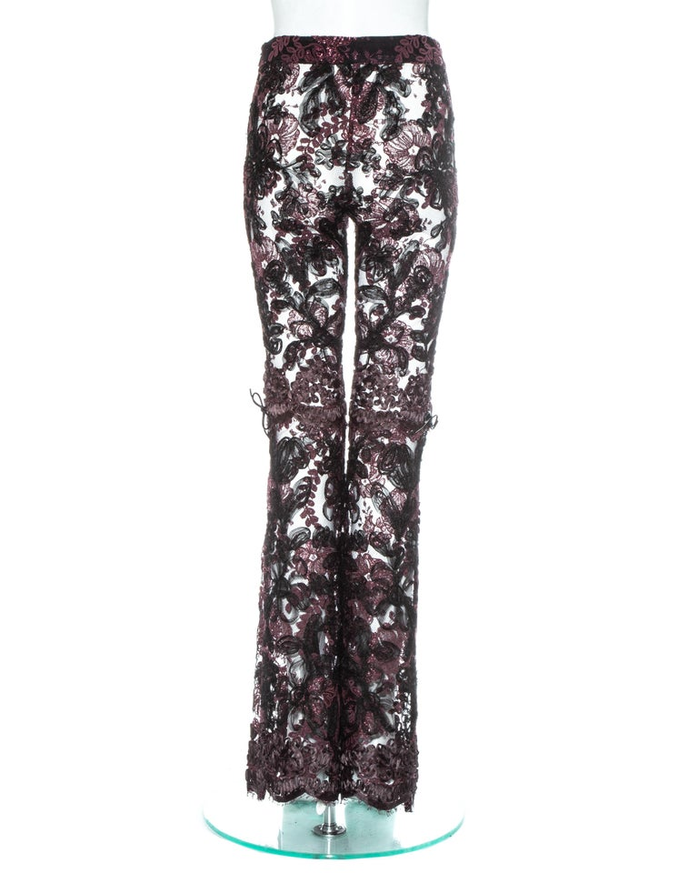 Gucci by Tom Ford purple embroidered lace flared evening pants, fw 1999 1