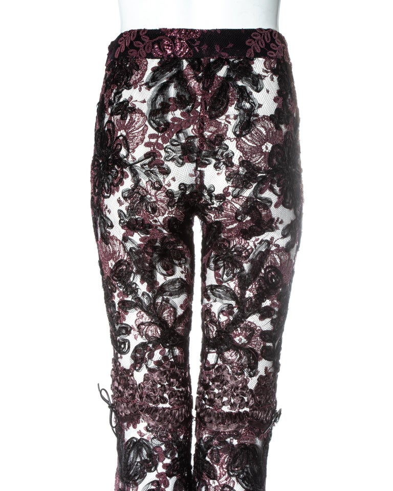 Gucci by Tom Ford purple embroidered lace flared evening pants, fw 1999 2