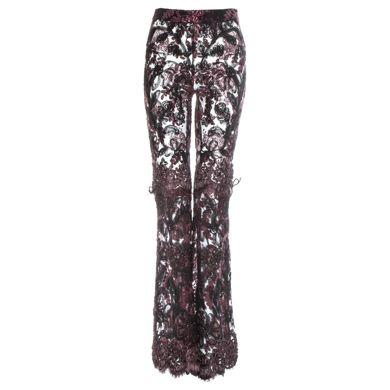 Gucci by Tom Ford purple embroidered lace flared evening pants, fw 1999