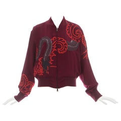 Gucci by Tom Ford red silk embroidered reversible bomber jacket, ca. 2001
