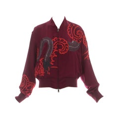 Gucci by Tom Ford red silk embroidered reversible bomber jacket, ss 2001
