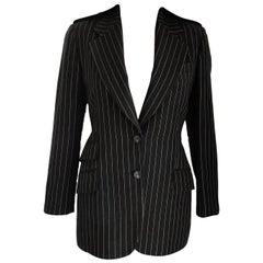 Gucci by Tom Ford Regal Black Pinstripe Epaulette Jacket Blazer IT 38/ US 4