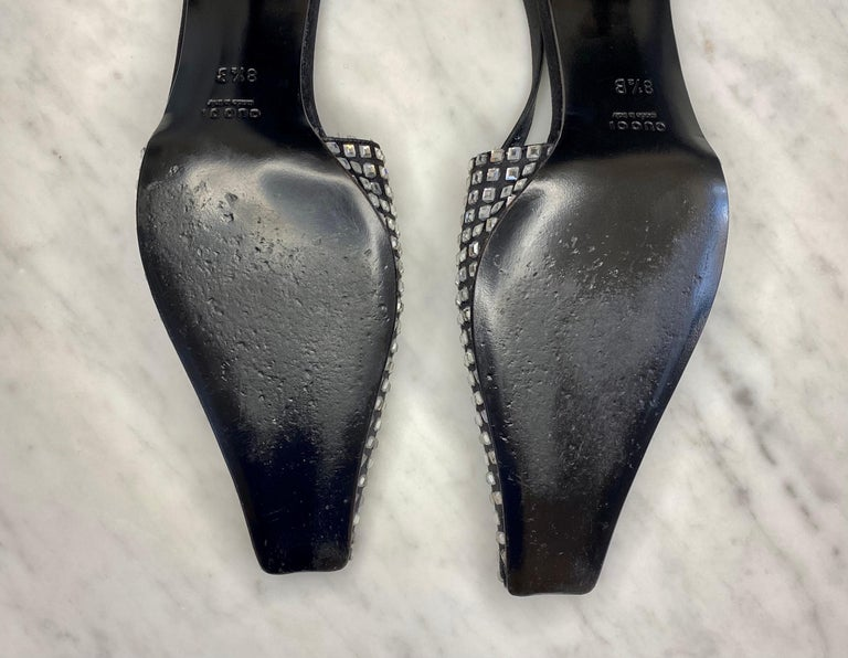 S/S 1998 Gucci by Tom Ford Square Rhinestone Kitten Heels  For Sale 1