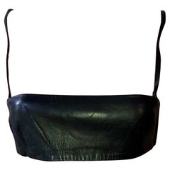 Gucci by Tom Ford S/S 1998 Vintage Black Leather Tube Bra Bralette Crop Top